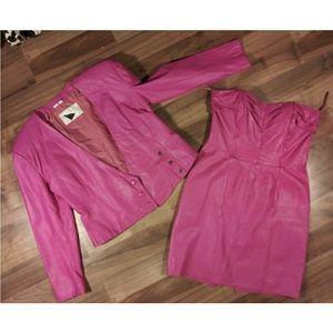Vtg real leather 2pc. jacket coat dress vintage